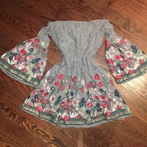 Never worn pinstripe floral embroidered dress